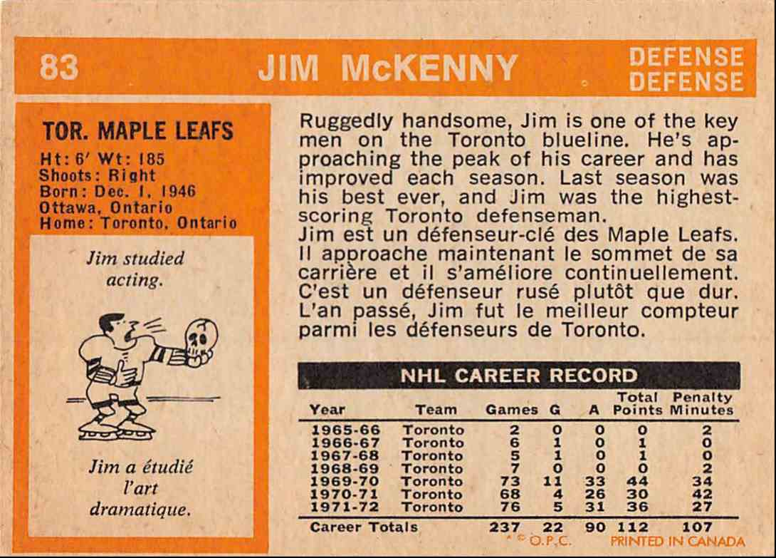 1972-73 O-Pee-Chee Jim McKenny #83 card back image