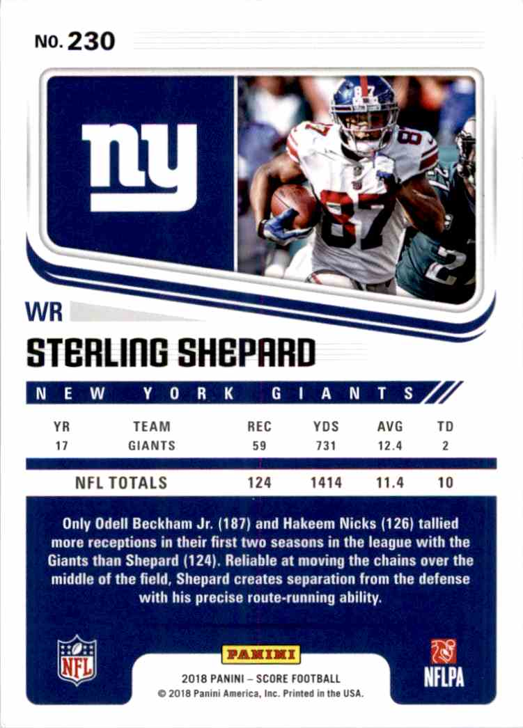 2018 Panini Score Red Parallel Sterling Shepard #230 card back image