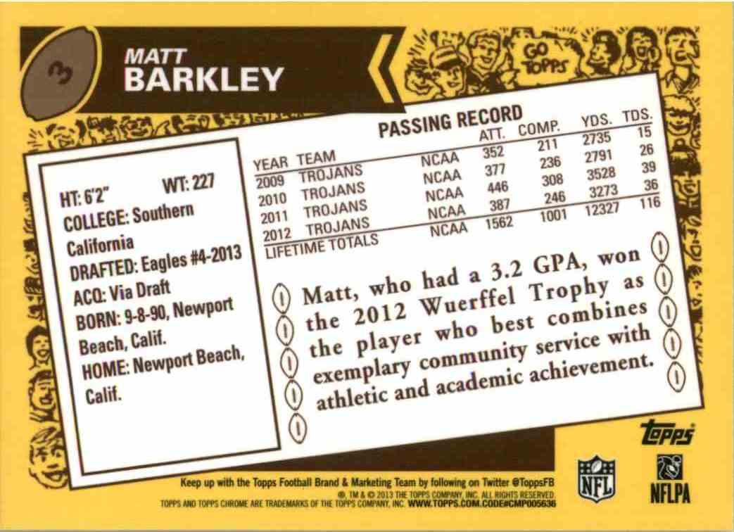 2013 Topps Chrome Matt Barkley #3 card back image