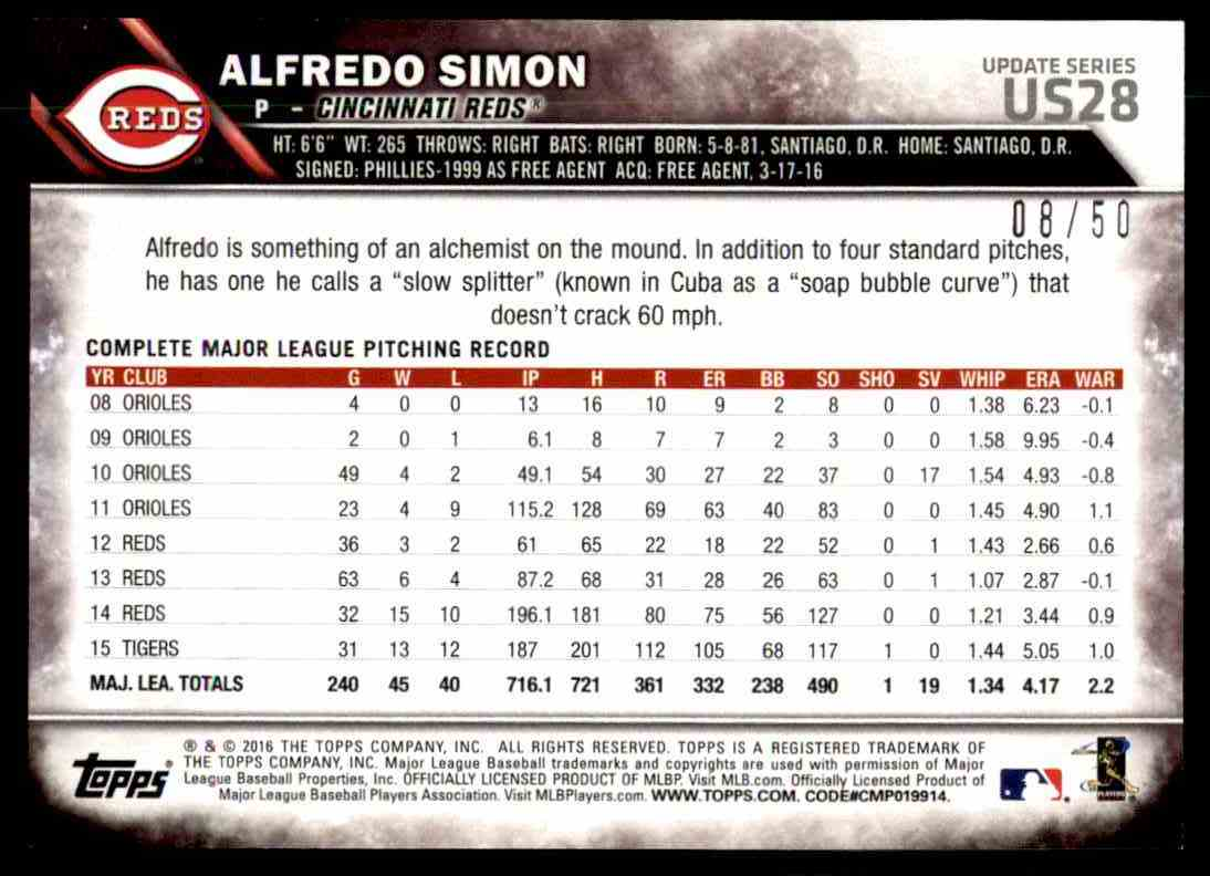 2016 Topps Update Series Pink Alfredo Simon #US28 card back image