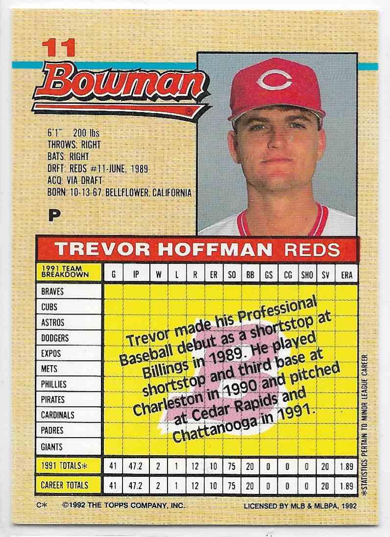 1992 Bowman Trevor Hoffman #11 card back image