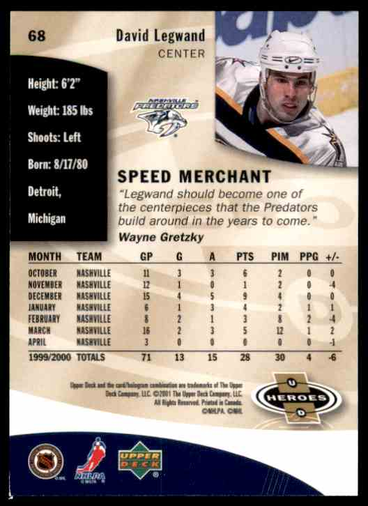2000-01 Upper Deck Heroes David Legwand #68 card back image