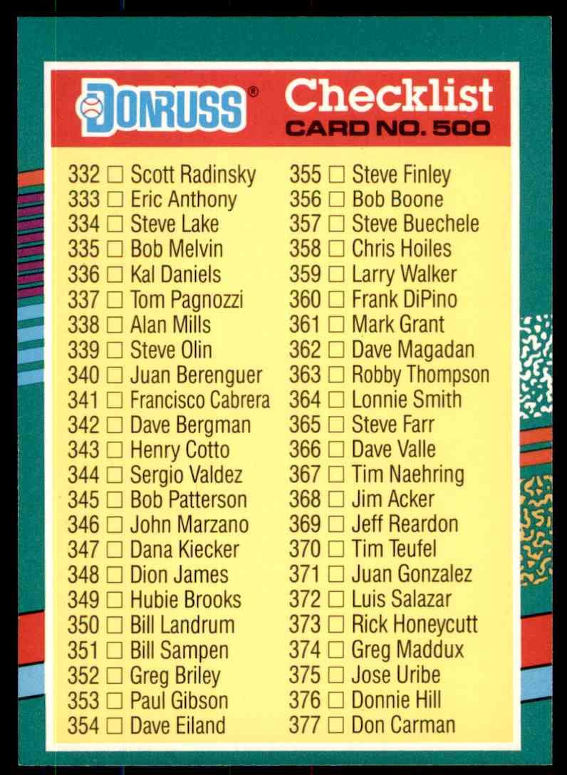 1991 Donruss Baseball Checklist 332 408 Bc1 Bc10 500 On Kronozio