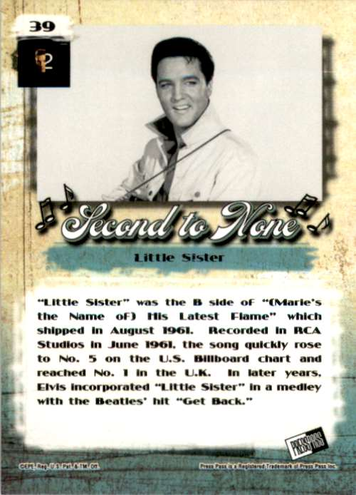 2007 Elvis The Music Little Sister #39 card back image