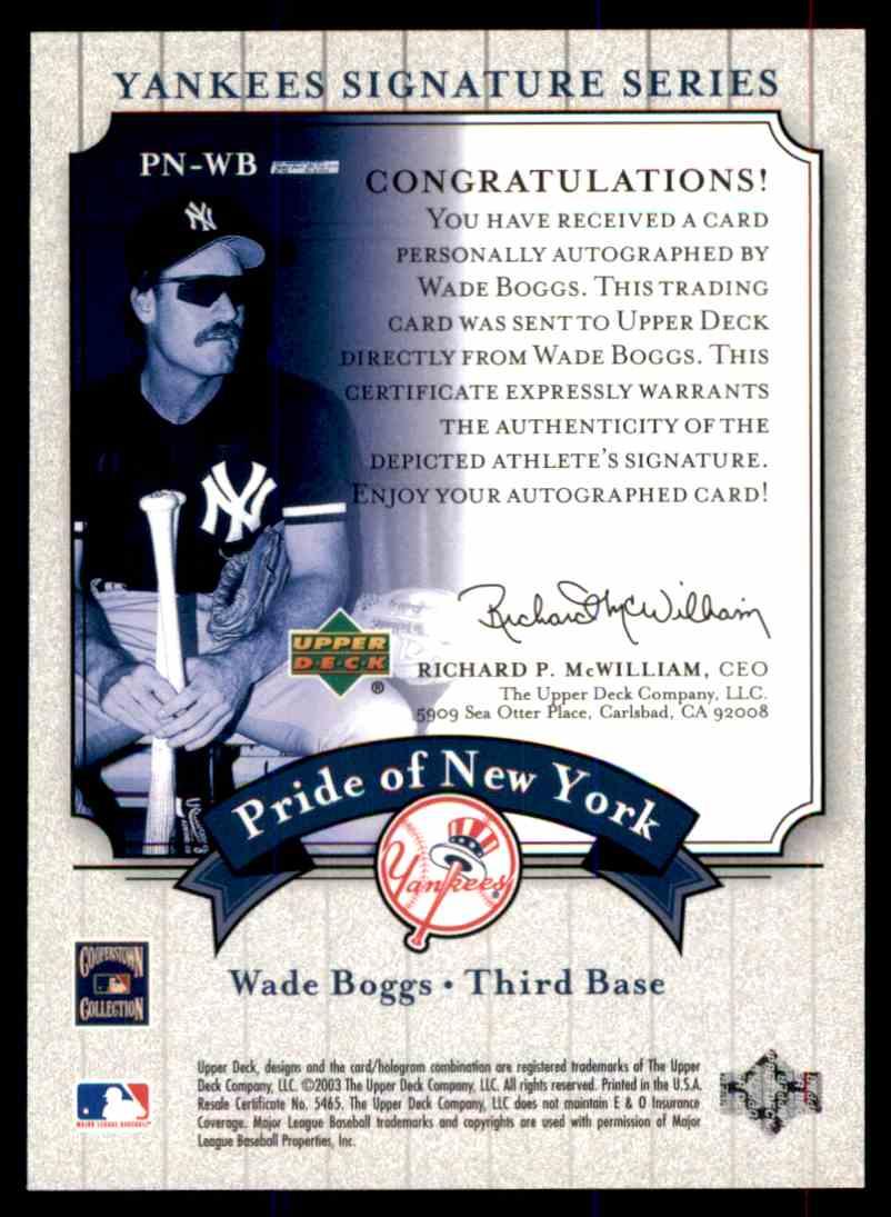 2003 Upper Deck Yankees Siganture Series Wade Boggs card back image