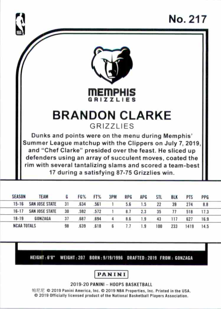 2019-20 Hoops Brandon Clarke RC #217 card back image