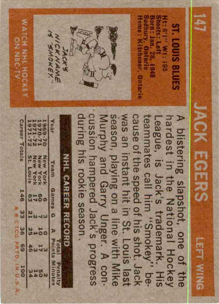 1972-73 Topps Jack Egers #147 card back image