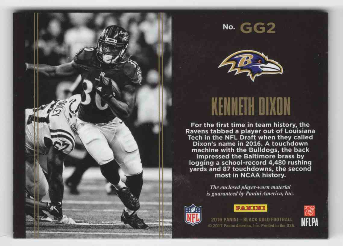 2016 Panini Black Gold Golden Ground Game Jerseys Kenneth Dixon #GG2 card back image
