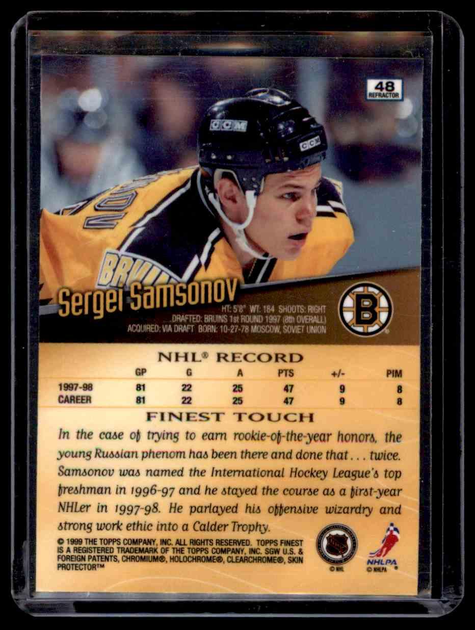 1998-99 Finest Refractor Sergei Samsonov #48 card back image