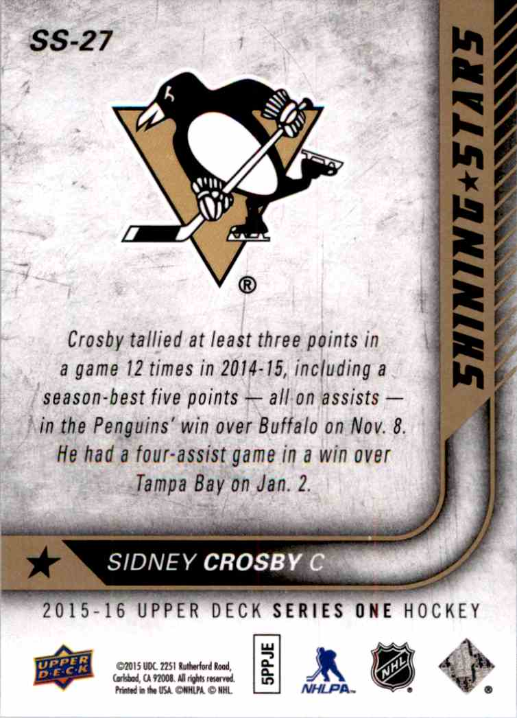 2015-16 Upper Deck Shining Stars Sidney Crosby #SS-27 card back image