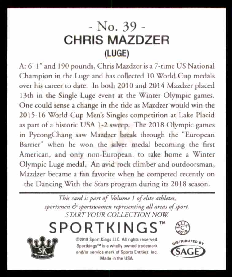 2018 Sportkings Black Back Retail Mini Chris Mazdzer #39 card back image