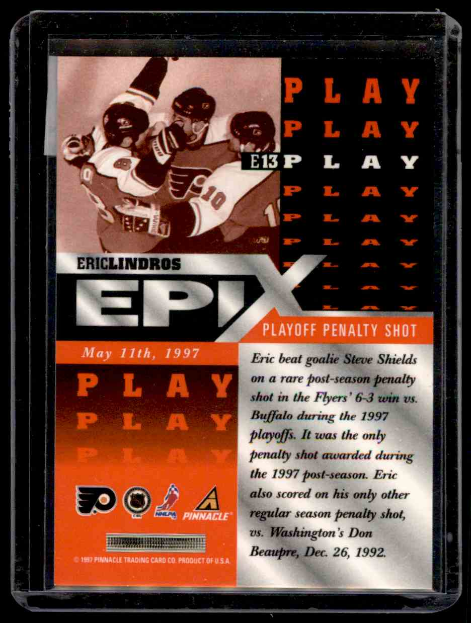 1997-98 Pinnacle Epix Play Eric Lindros #13 card back image
