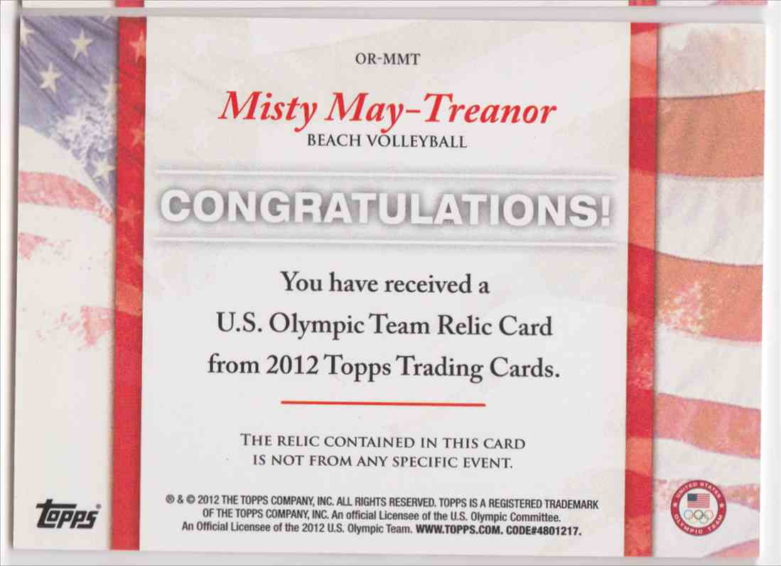 2012 Topps U.S. Olympic Team Relic Misty May-Treanor #OR-MMT card back image