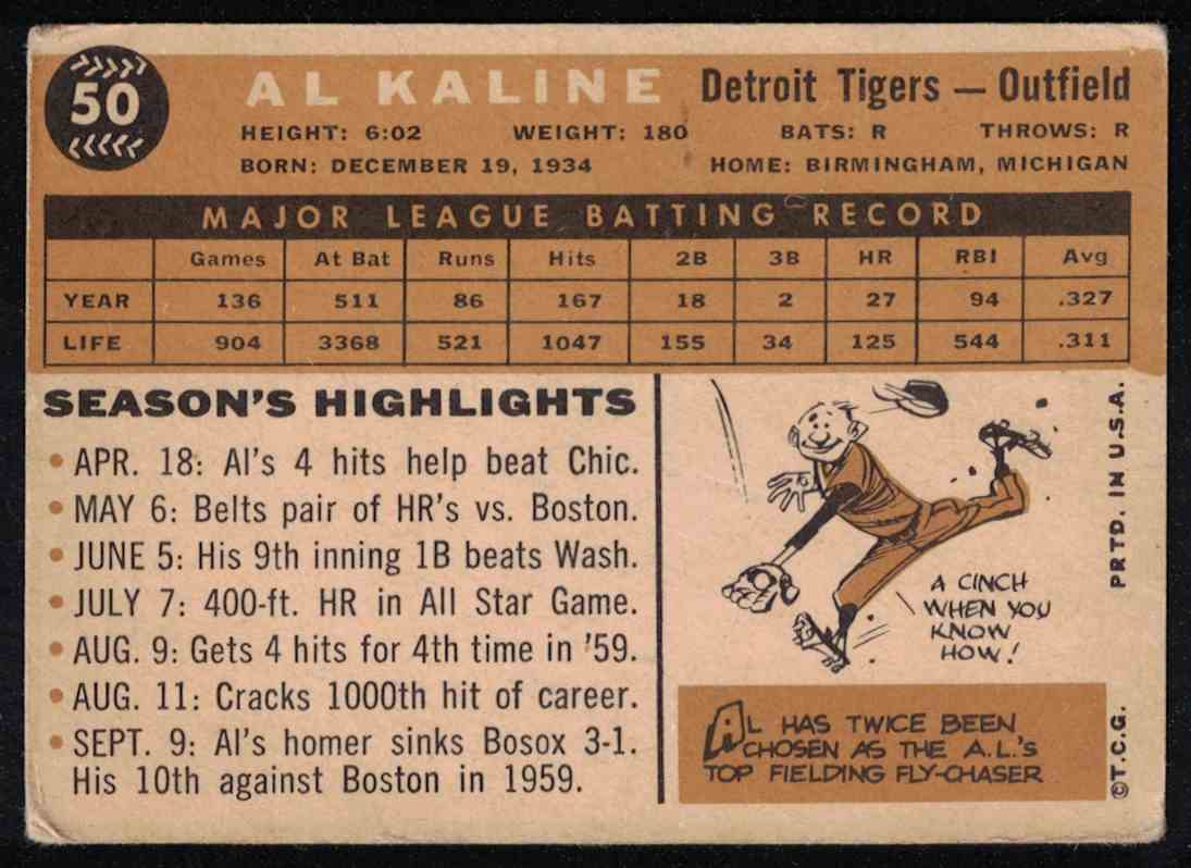 1960 Topps Al Kaline F-G Small crease #50 card back image