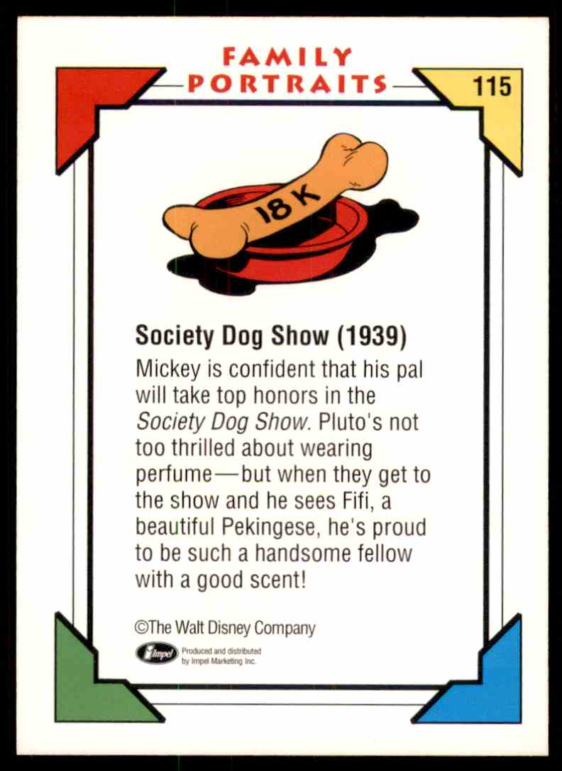 1991 Disney Series One Society Dog Show 1939 #115 card back image