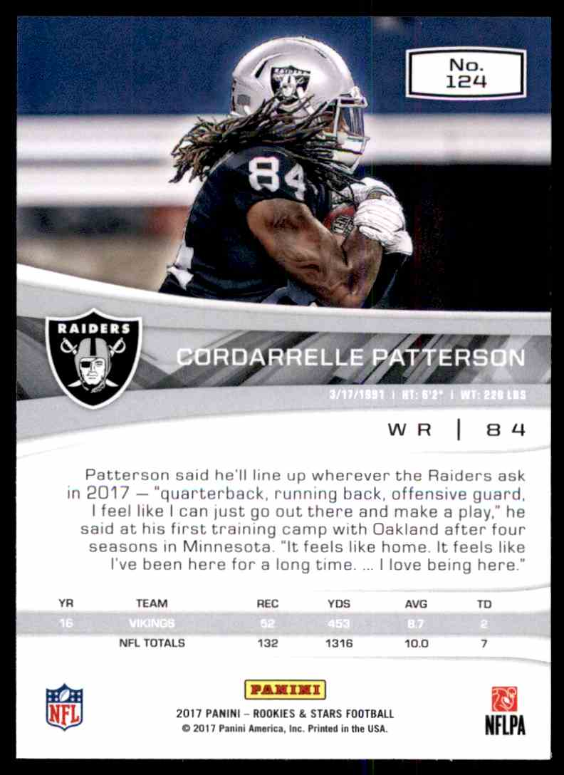 2017 Rookies And Stars Cordarrelle Patterson #124 card back image