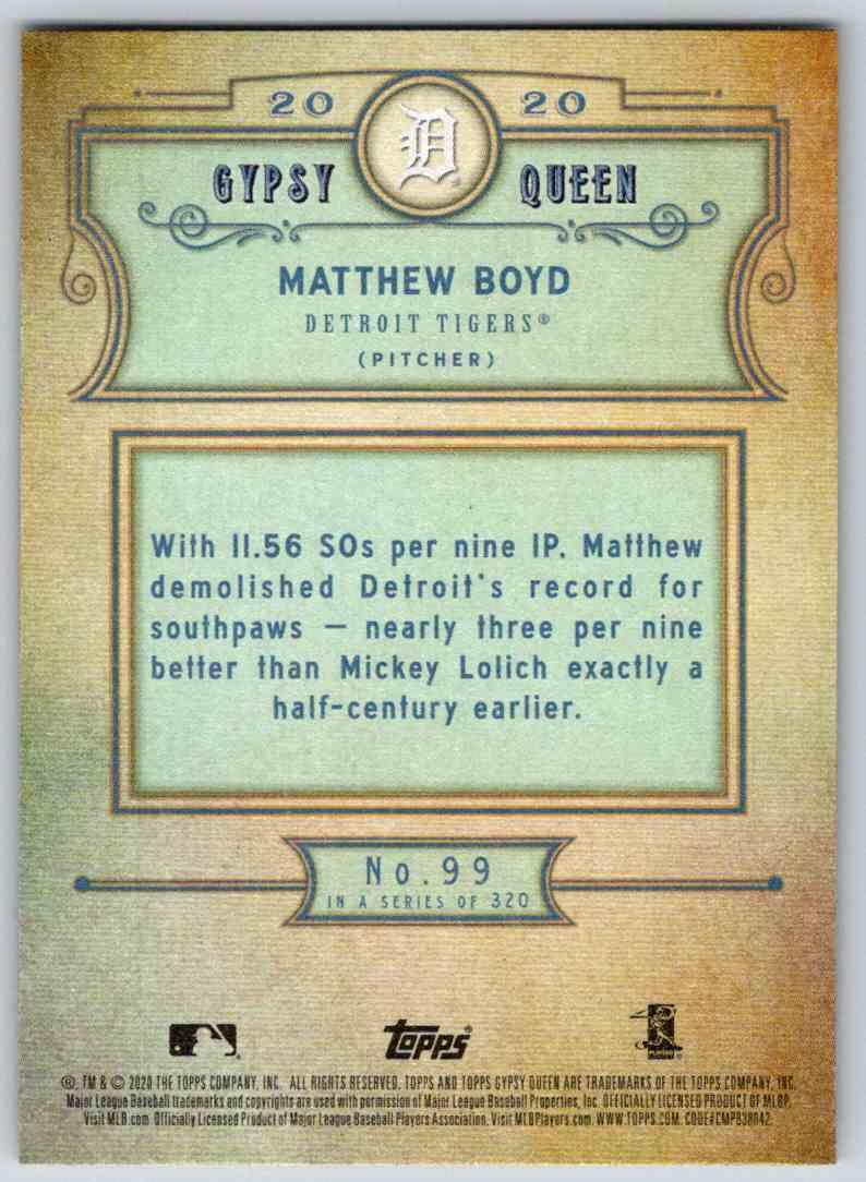 2020 Topps Gypsy Queen Base Matthew Boyd #99 card back image