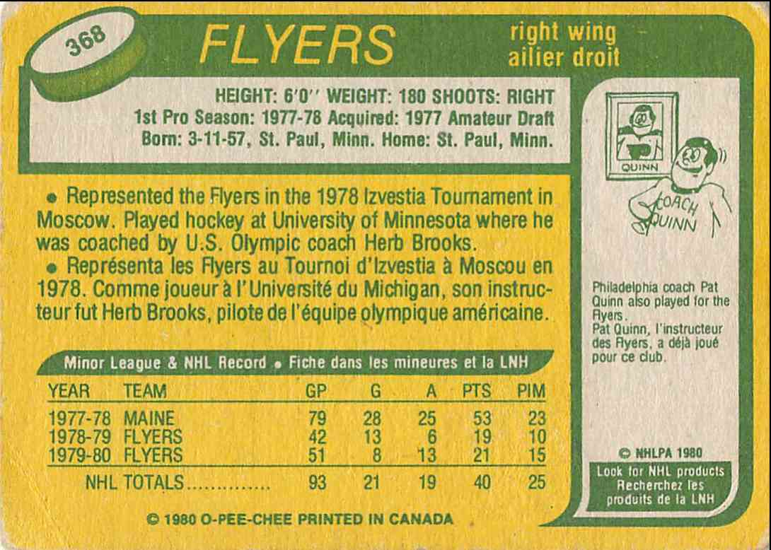 1980-81 O-Pee-Chee Tom Gorence #368 card back image