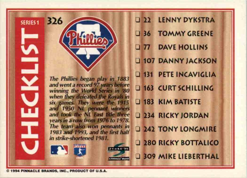 1994 Score Gold Rush Checklist #326 card back image