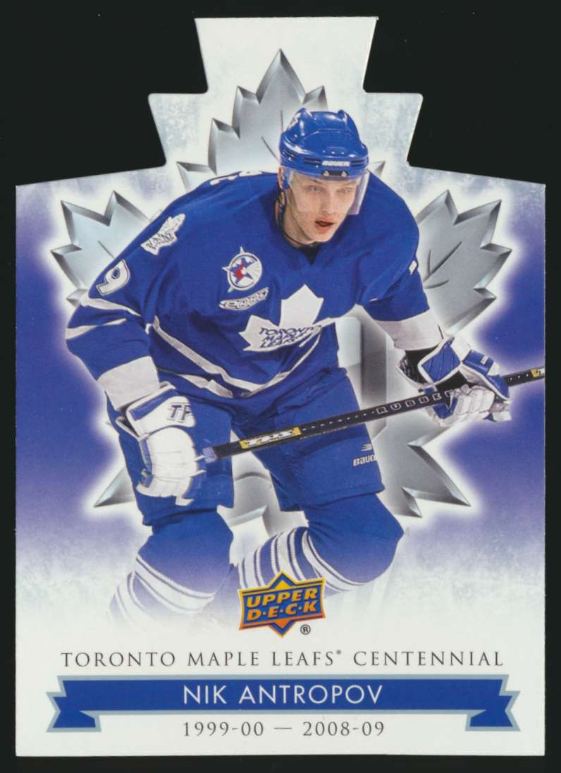2017-18 UD Maple Leafs Centennial Die Cut Nik Antropov #55 card front image