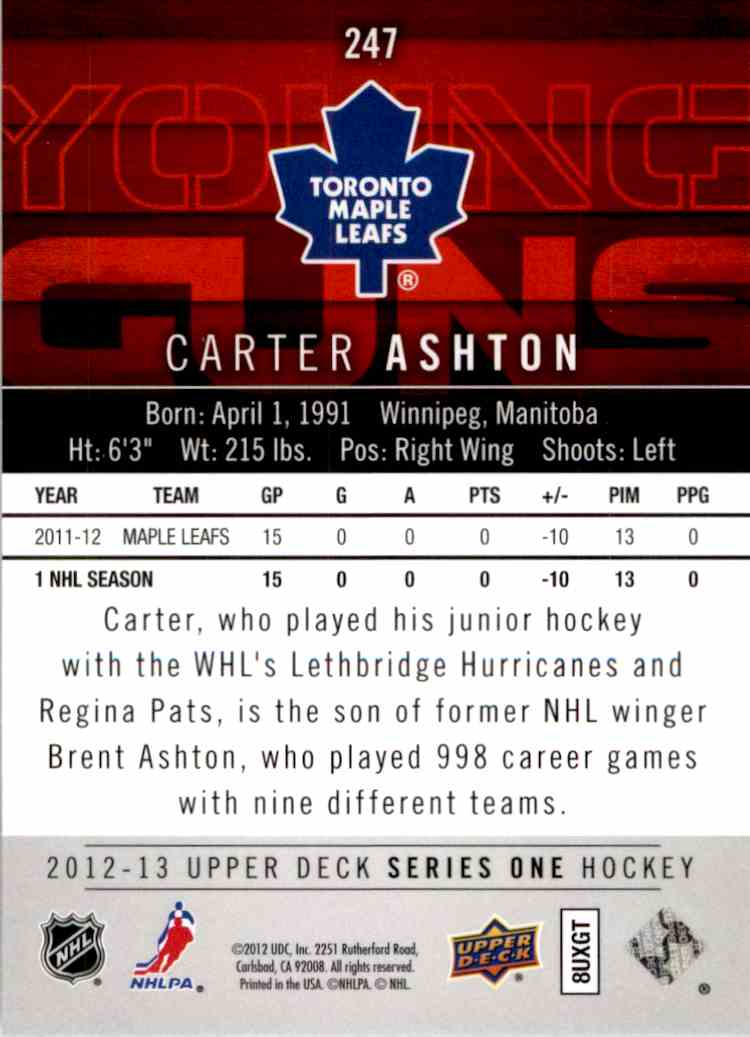 2012-13 Upper Deck Young Guns Carter Ashton #247 card back image
