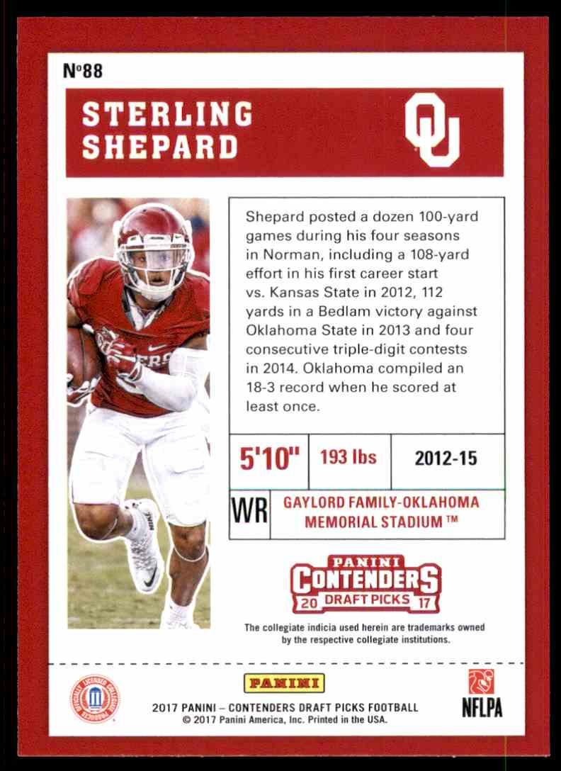 2017 Panini Contenders Draft Picks Sterling Shepard #88 card back image