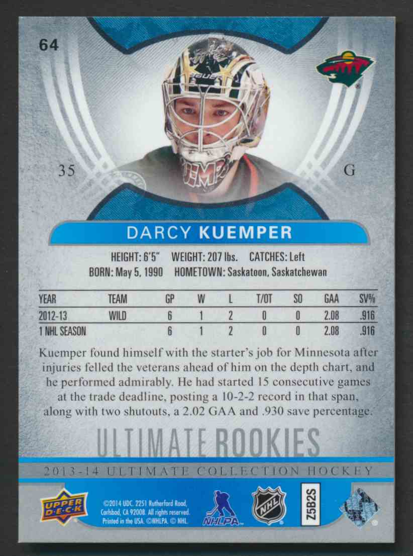 2013-14 Ultimate Collection Darcy Kuemper #64 card back image