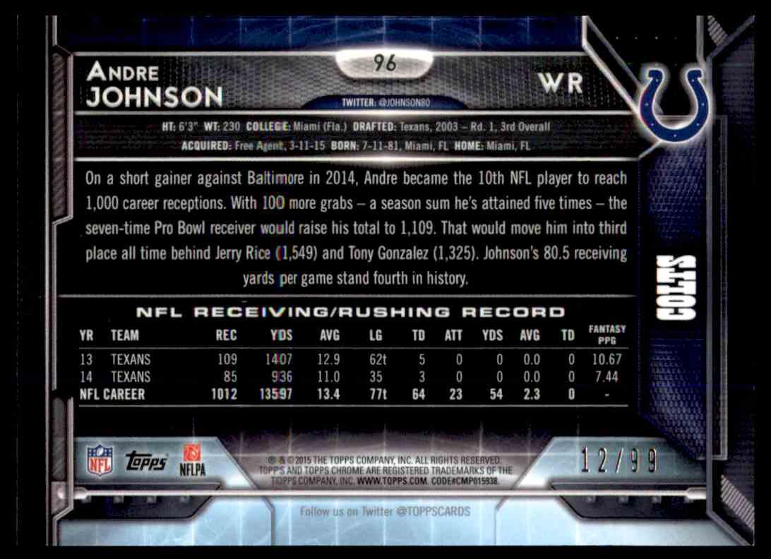 2015 Topps Chrome Sepia Refractor Andre Johnson #96 card back image