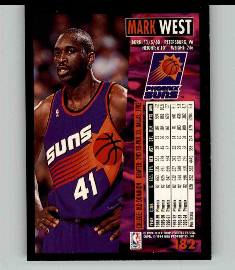 1994-95 Fleer Mark West #182 card back image