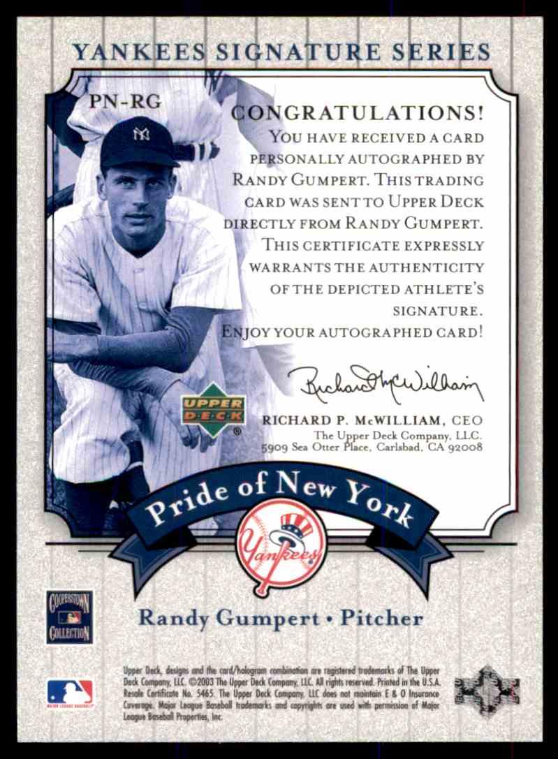2003 Upper Deck Yankees Siganture Series Randy Gumpert card back image