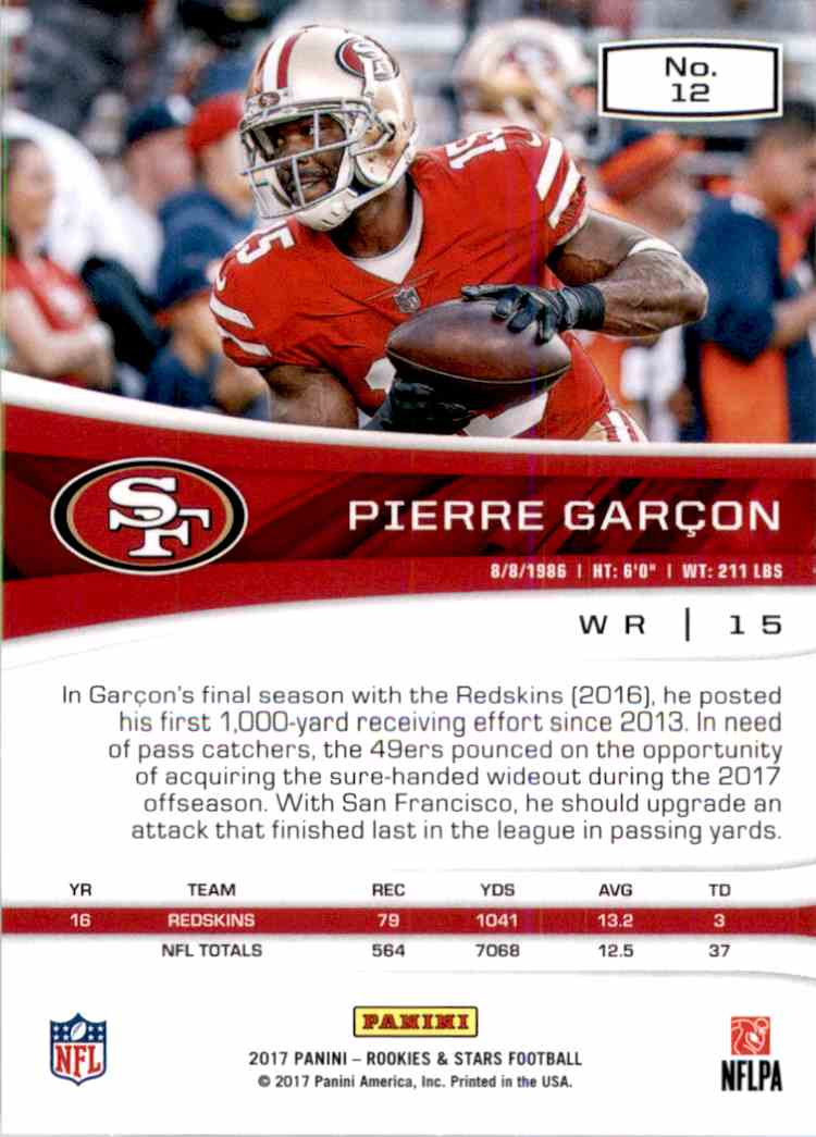 2017 Rookies And Stars Pierre Garcon #12 card back image