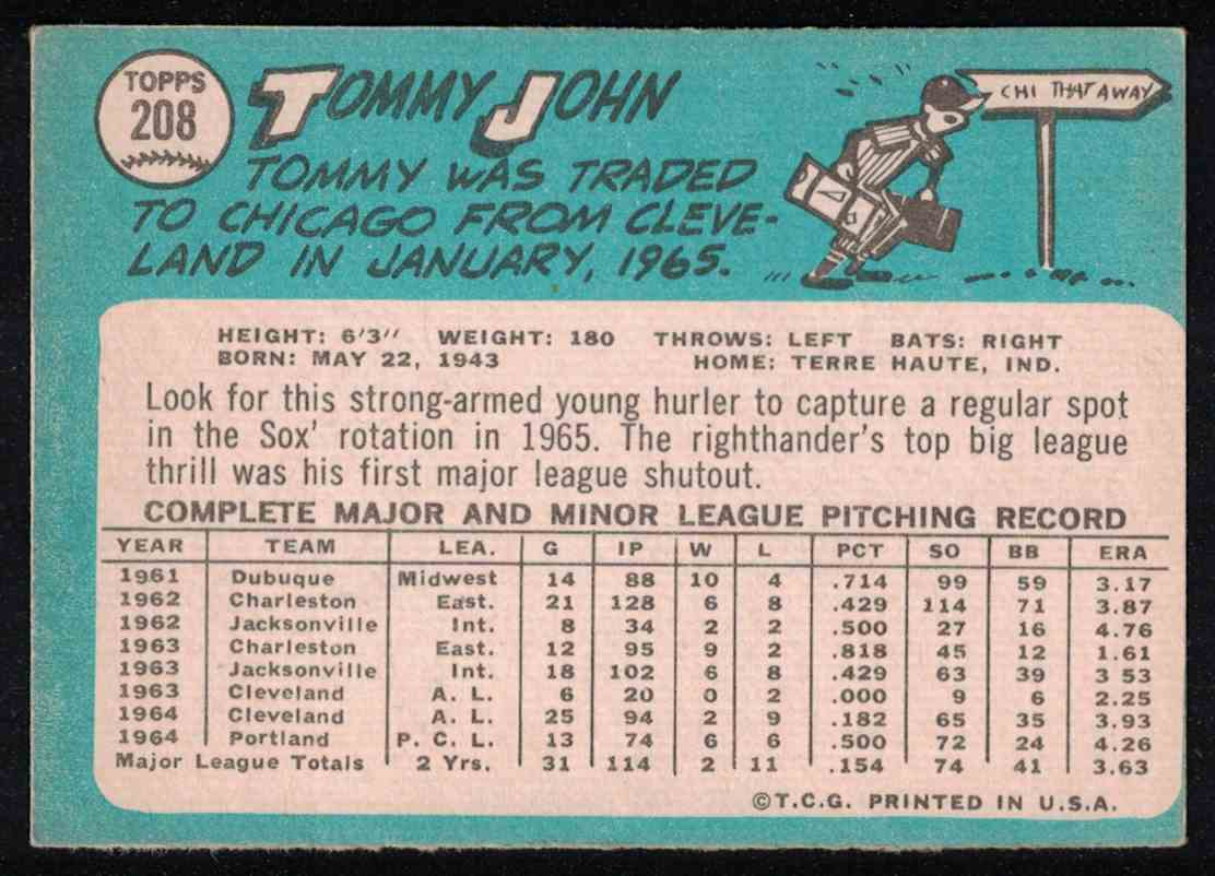 1965 Topps Tommy John EX miscut #208 card back image