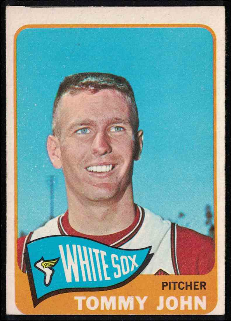 1965 Topps Tommy John EX miscut #208 card front image