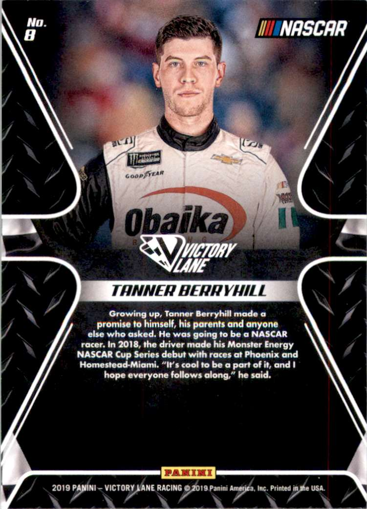 2019 Panini Victory Lane Pedal To The Metal Tanner Berryhill #9 card back image