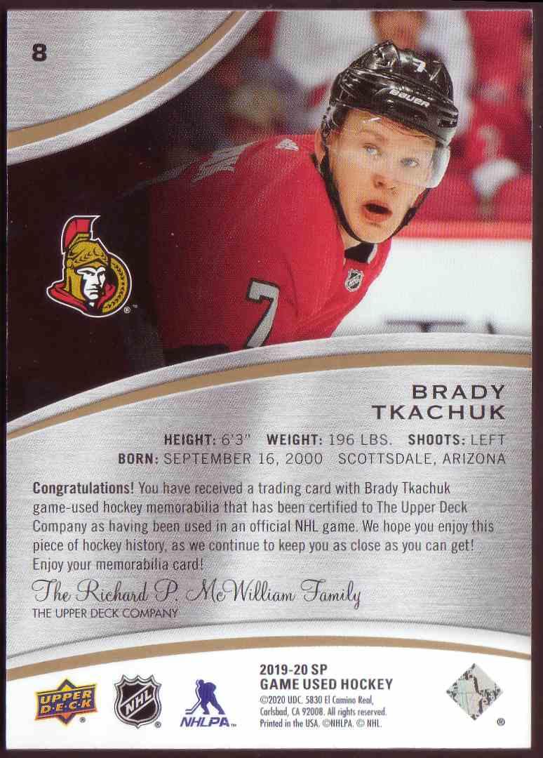 2019-20 SP Game Used Gold Jersey Brady Tkachuk #8 card back image