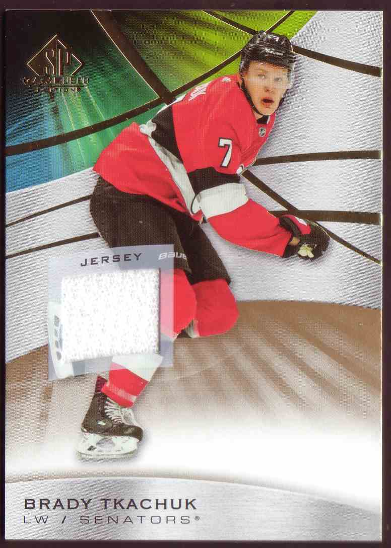 2019-20 SP Game Used Gold Jersey Brady Tkachuk #8 card front image