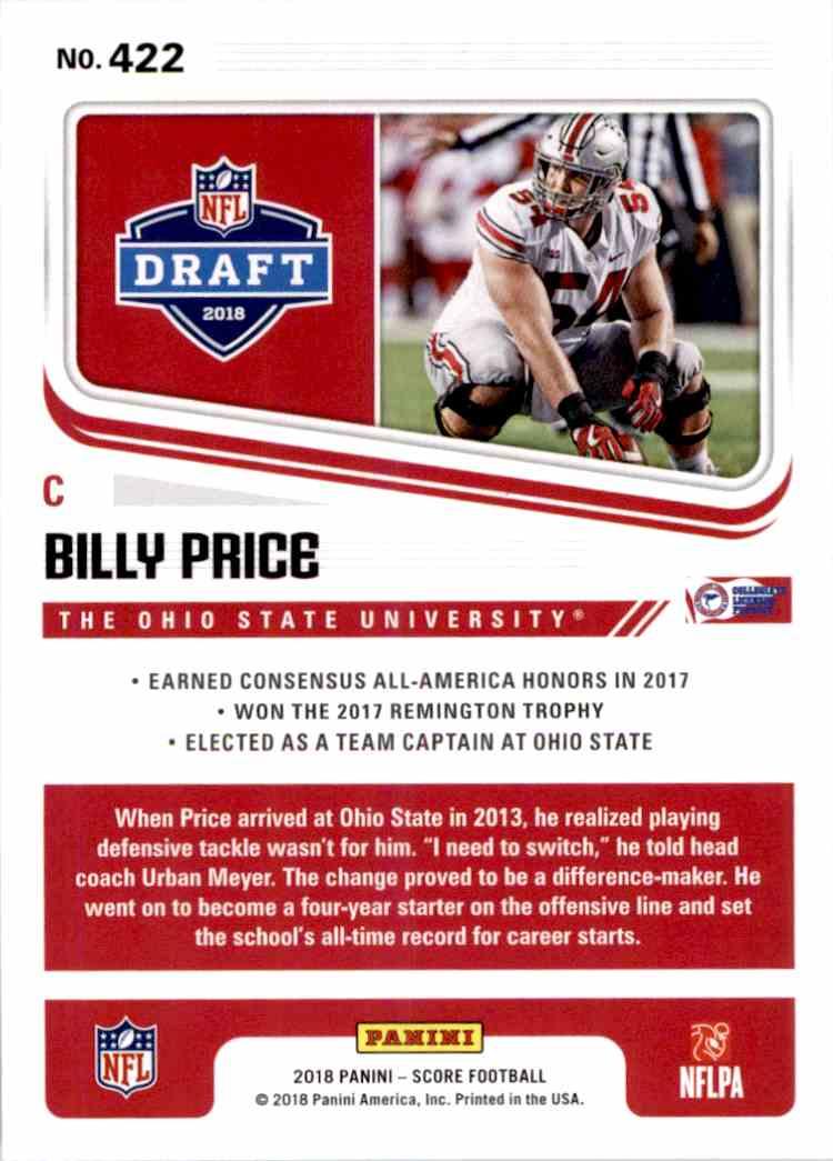 2018 Panini Score Billy Price #422 card back image