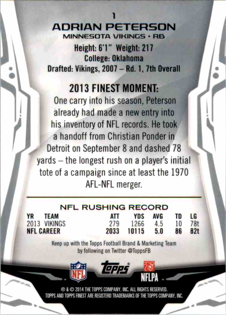 2014 Finest Adrian Peterson #1 card back image