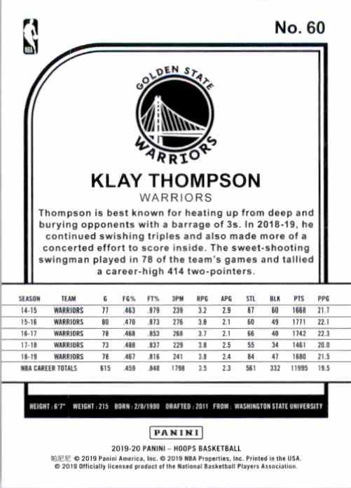 2019-20 Hoops Klay Thompson #60 card back image