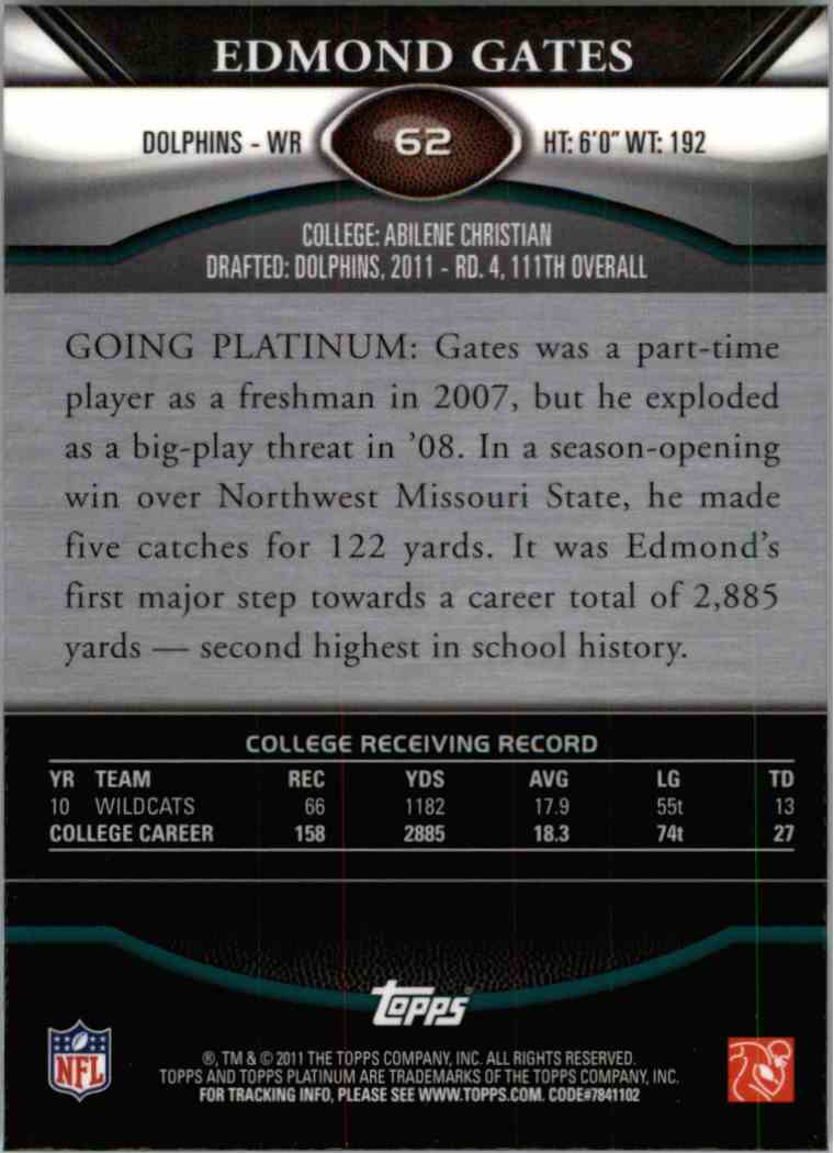 2011 Topps Platinum Edmond Gates #62 card back image