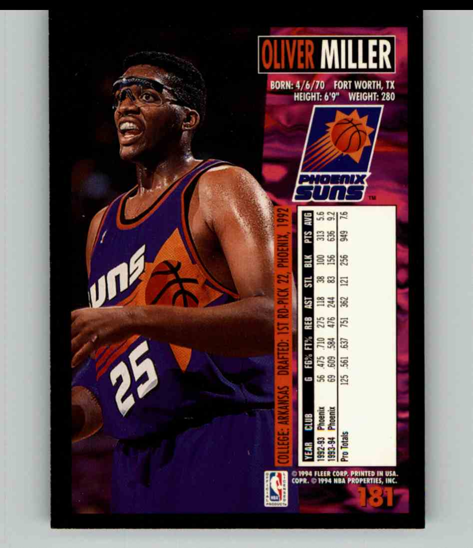 1994-95 Fleer Oliver Miller #181 card back image