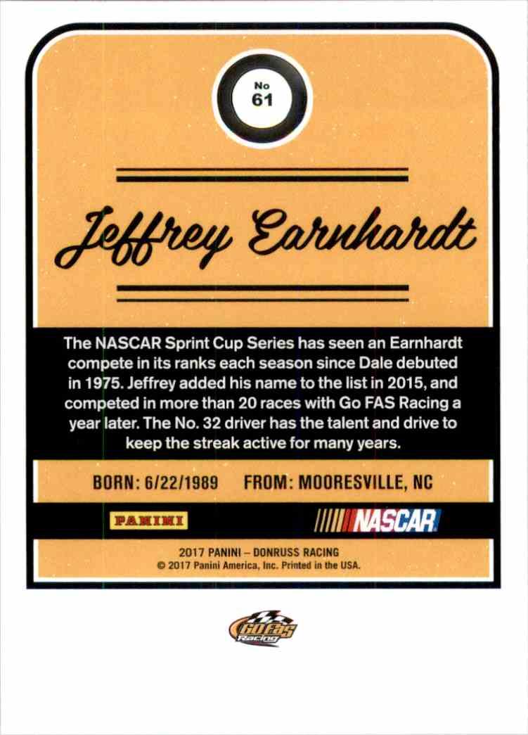 2017 Donruss Jeffrey Earnhardt #61 card back image