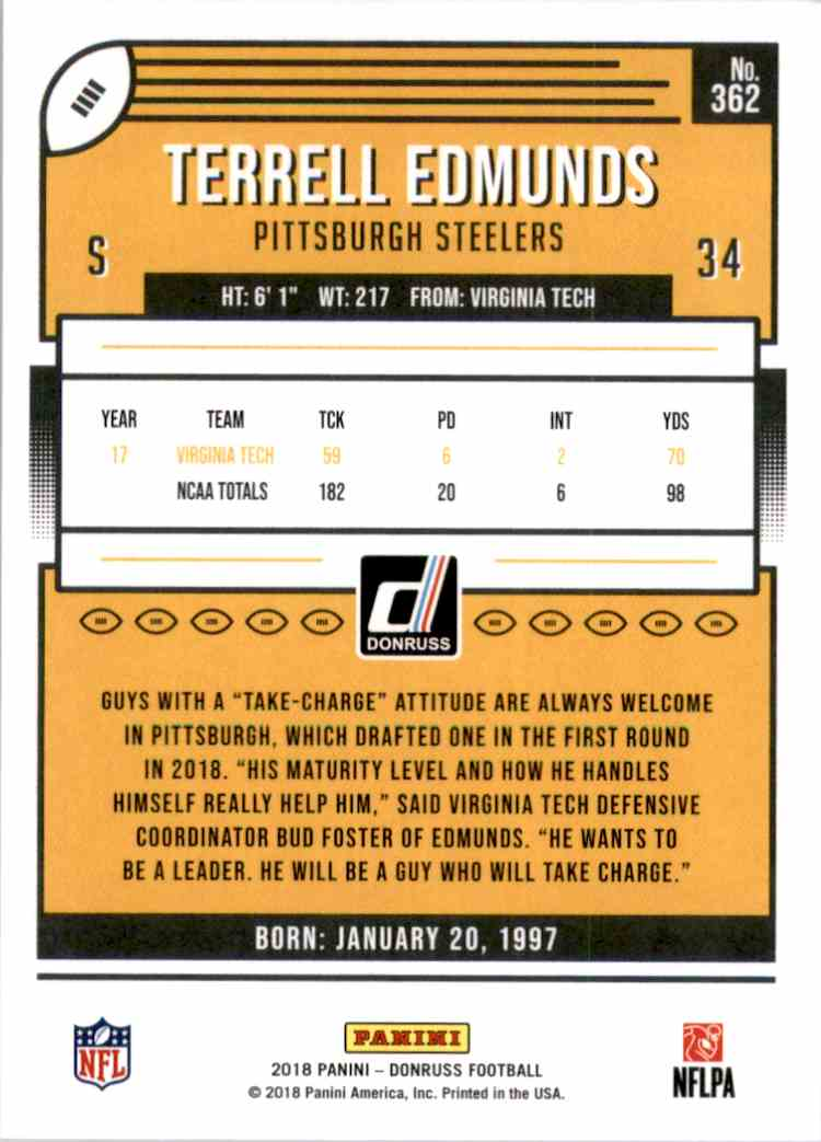 2018 Donruss Terrell Edmunds #362 card back image
