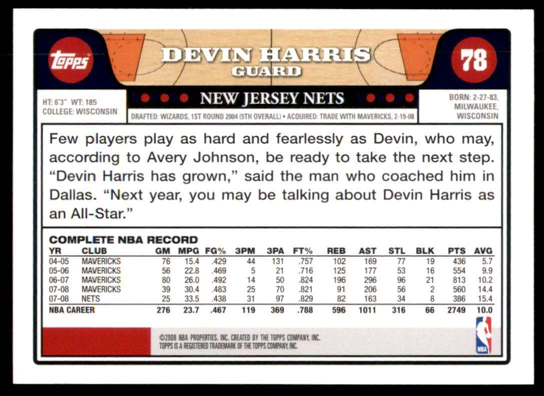 2008-09 Topps Devin Harris #78 card back image