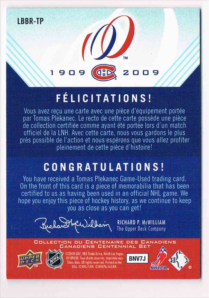 2008-09 Upper Deck Centennial Bleu Blanc Rouge Tomas Plekanec #LBBR-TP card back image