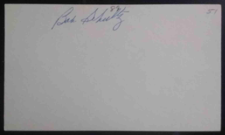 1951 3X5 Bob Schultz card back image