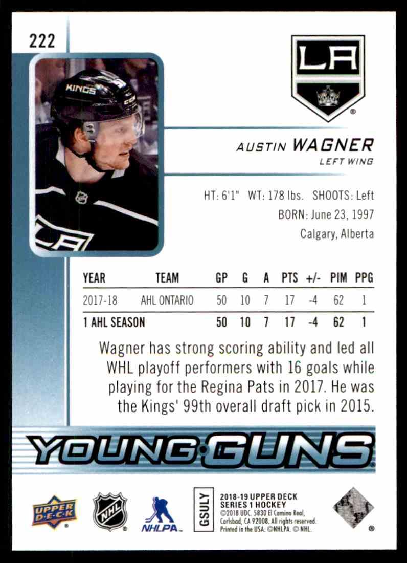 2018-19 Upper Deck ! Austin Wagner #222 card back image