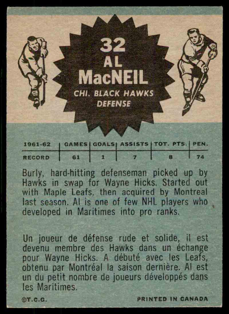 1962-63 Topps Al MacNeil #32 card back image
