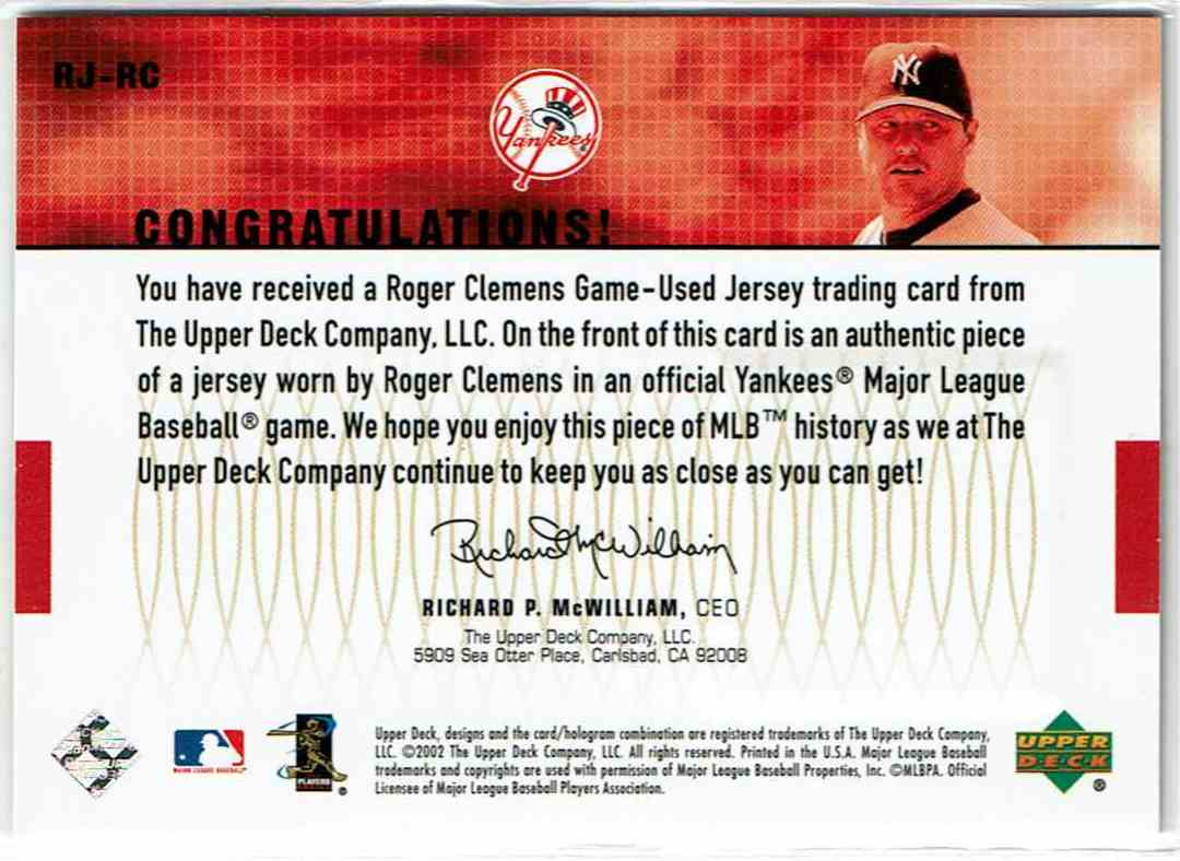 2003 Upper Deck Game Swatches Roger Clemens #RJ-RC card back image
