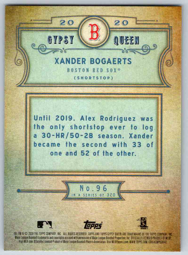 2020 Topps Gypsy Queen Base Xander Bogaerts #96 card back image